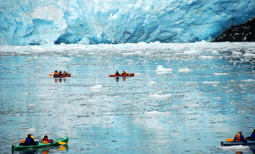 Kayaking Adventure at Mendenhall Lake of Tongass National Forest in Juneau