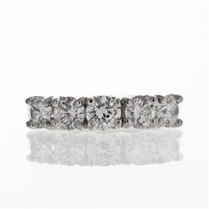 5-Stone 1.50ct Beaded Diamond Band,  14k Gold