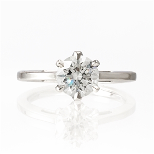 6 Prong Cathedral Diamond Engagement Ring 1ct round brilliant
