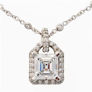 3.02ct Asscher Diamond Pave Pendant