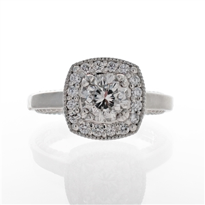 Beaded Cushion Halo Diamond Engagement Ring