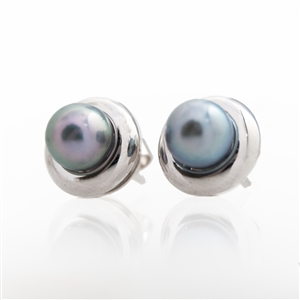 Japanese Blue-Grey Saltwater Cultured Pearl Earrings, 14k, 18k platinum