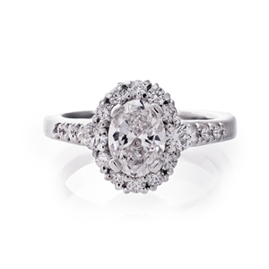 Cathedral Oval Halo Filigree Engagement Ring