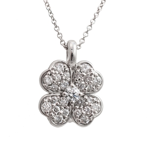 Diamond Pave Clover Pendant,  .55ct of ideal cut diamonds