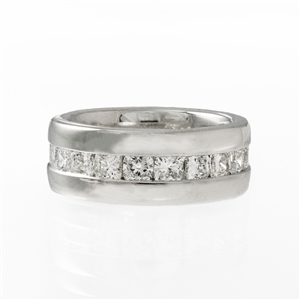 3.20ct Channel Cushion Cut Diamond Eternity Wide  Band