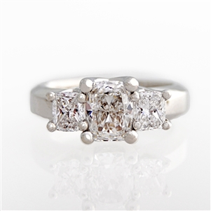 Three Stone Cushion Woven Diamond Engagement Ring