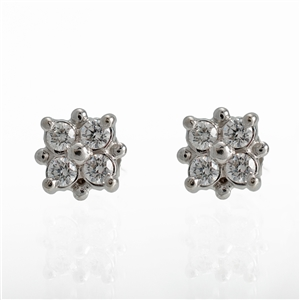 Diamond Square Dot Earrings, .25ct