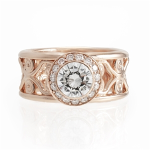 Filigree Halo Diamond Ring, 14k rose gold