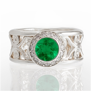 Emerald Filigree Halo Ring