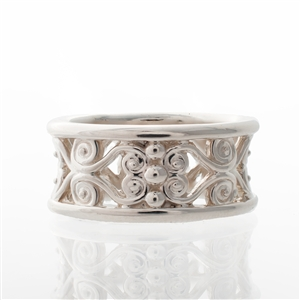 Filigree Wide Band Silver
