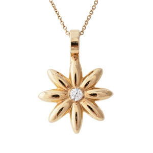 Flower Pendant Diamond, 14k Gold