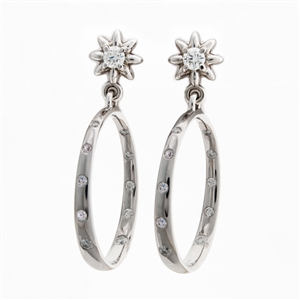 Diamond Flower Hoop Earrings, 3.5mm diamond in a flower shaped setting, 20 flush set diamonds