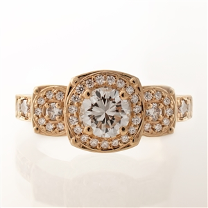 Cushion Halo Three Stone Diamond Engagement Ring, 14k, 18k Gold & platinum