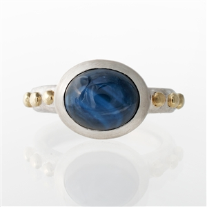 Hammered Oval Bezel Ring Blue Star Sapphire (treated)