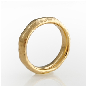hammered stackable band ring