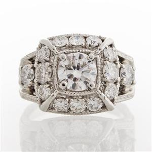 Legacy Vintage Diamond Ring, 2.35ct of round brilliant diamonds, milgrain detail,