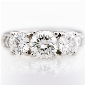 The Original Three Stone Diamond Engagement Ring, four prong setting.  14k Gold.