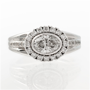 Oval Bezel Halo Diamond Ring