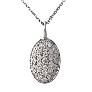 Diamond Pave Pendant Tag,  Oval