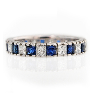 Princess Eternity Band Blue Sapphire and Diamond