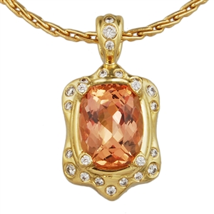 Precious Topaz and Diamond Pendant