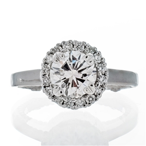 Round Halo Filigree Engagement Ring