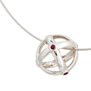 Sfera Ruby Bezel Pendant Necklace in Sterling Silver