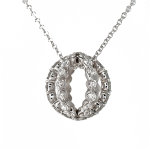 Sfera Pin Diamond Pendant Necklace, Cable chain included. 14k White Gold.