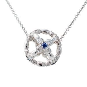Sfera Sapphire Diamond Pendant Necklace, choice of birthstone.  14k Gold.