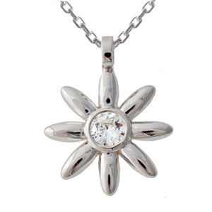 Flower Pendant Diamond, .40ct, 14k Gold.