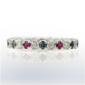 Shape Stackable Eternity Ring Round Alexandrite, Ruby and Diamonds with Bead Accent