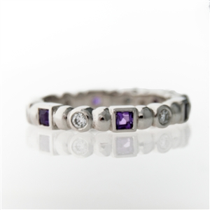 Shape Stackable Eternity Ring, Round Diamonds & Square Amethyst