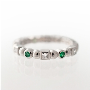 Shape Stackable Eternity Ring,  Princess Diamonds & Emeralds, 14k Gold
