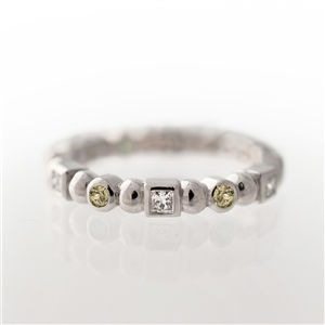 Princess Diamonds & Round Green Diamonds, Eternity Ring