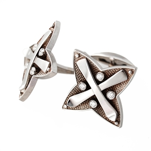 Diamond Skier Cuff Links, 14k Gold