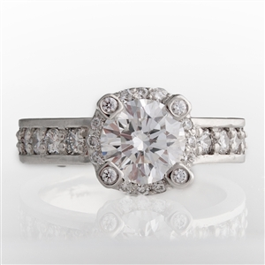 Statement Halo Diamond Engagement Ring, 14k Gold