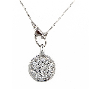 Diamond Pave Pendant Tag .28ct, Round, 14k Gold