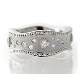 Heart Diamond Wavey Band, 4 bezel heart cut diamonds, 14k, 18k gold, silver