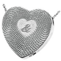 Heart Finger Print Compartment  Print Pendant Stainless Steel