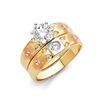 14K 3C CZ Ladies Wedding Band Only