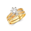 14K 3C CZ Engagement Ring Only