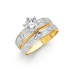14K 2T CZ Ladies Wedding Band Only