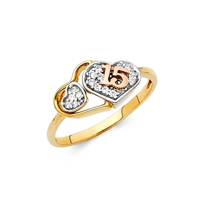 14K 2T 15 Years CZ Ring