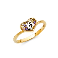 14KY 15 Years CZ Ring