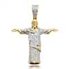 10k 0.85ct Diamond Brazilian Jesus Pendant