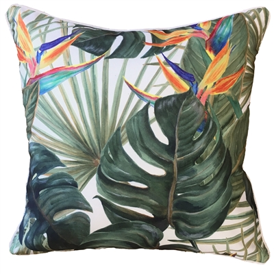 Bahamas Orange Strelitzia Outdoor Cushion