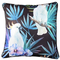 Black Cockatoo Bird Outdoor Cushion