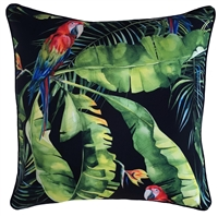 Jungle Birds Black Outdoor Cushion