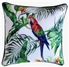 Jungle Birds White Outdoor Cushion