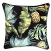 Jungle Fruits Black Leaf Outdoor Cushion